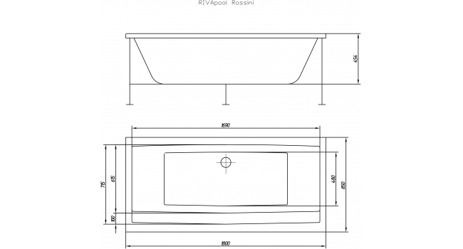 Rossini ванна акриловая прямоугольная