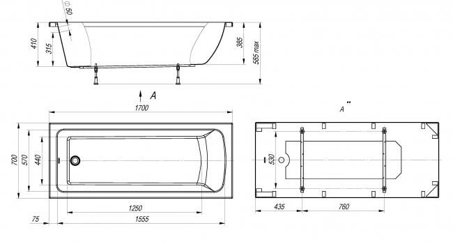 Viola акриловая ванна прямоугольная